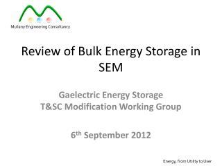Review of Bulk Energy Storage in SEM