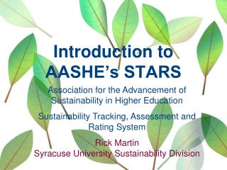 Introduction to AASHE�s STARS