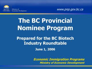 The BC Provincial Nominee Program