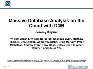 Massive Database Analysis on the Cloud with D4M