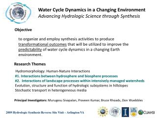 Water Cycle Dynamics in a Changing Environment Advancing Hydrologic Science through Synthesis