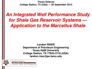 Thesis Defense College Station, TX (USA) —  05 September 2013
