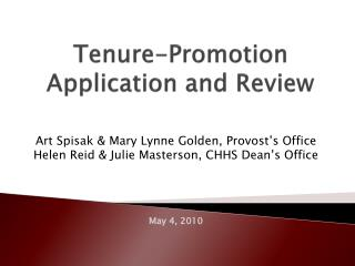 Tenure-Promotion  Application and Review