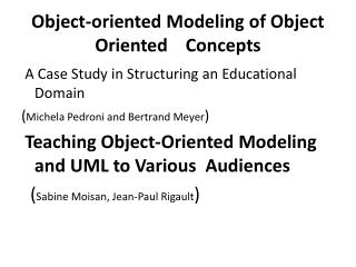 Object-oriented  Modeling  of Object  Oriented    Concepts
