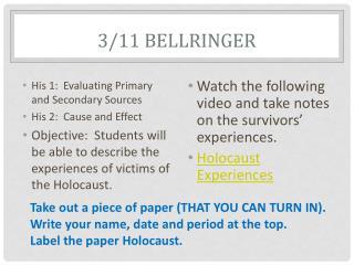 3/11  Bellringer