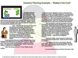 "Scenario Planning Example -- ""Bobby's Kid Card"""