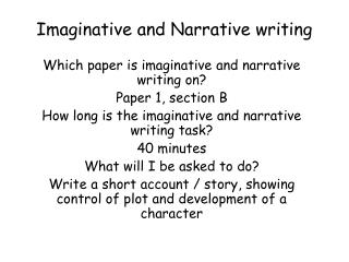 Imaginative and Narrative writing