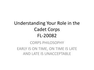 Understanding Your Role in the Cadet Corps FL-20082
