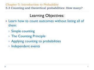 Chapter 5: Introduction to Probability  5.3 Counting and theoretical probabilities: How many?