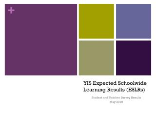 YIS Expected  Schoolwide  Learning Results ( ESLRs )