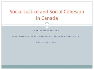 Social Justice and Social Cohesion in Canada