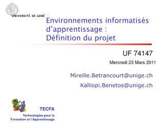 TECFA Technologies pour la Formation et l�Apprentissage