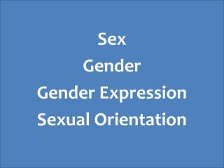 Sex Gender Gender Expression Sexual Orientation