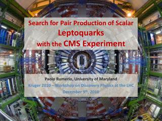 Search for Pair Production of Scalar  Leptoquarks with the  CMS Experimen t