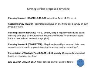 Strategic Plan proposed timeline