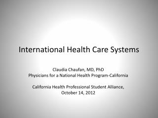 International Health Care Systems