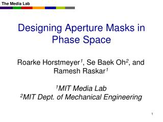 Designing Aperture Masks in Phase Space