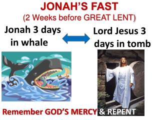 JONAH'S FAST (2 Weeks before GREAT LENT)