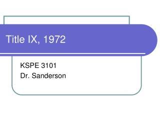 Title IX, 1972