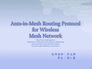 Ants-in-Mesh Routing Protocol for Wireless Mesh Network