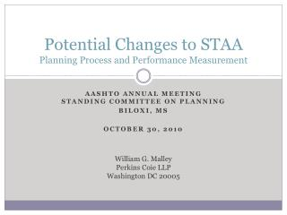 Potential Changes to STAA Planning Process and Performance Measurement
