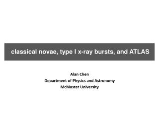 classical novae, type I x-ray bursts, and ATLAS