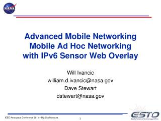 Advanced Mobile Networking Mobile Ad Hoc Networking  with IPv6 Sensor Web Overlay