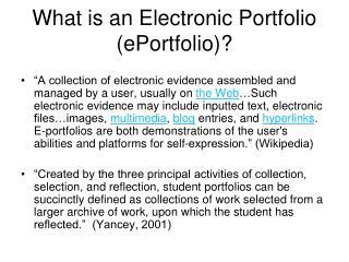 What is an Electronic Portfolio (ePortfolio)?