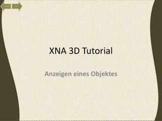 XNA 3D Tutorial