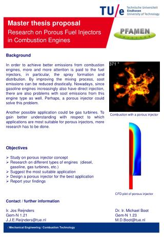 Master thesis proposal  Research on Porous Fuel Injectors in Combustion  E ngines