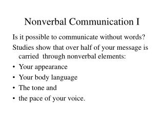 Nonverbal Communication I