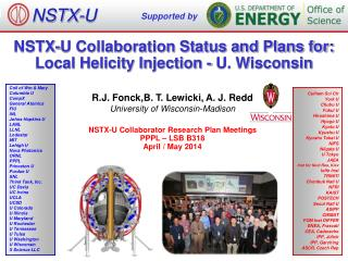 NSTX-U Collaboration Status and Plans for: Local Helicity Injection - U. Wisconsin