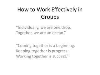 How to Work Effectively in Groups