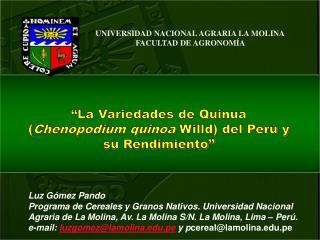 UNIVERSIDAD NACIONAL AGRARIA LA MOLINA FACULTAD DE AGRONOMÍA