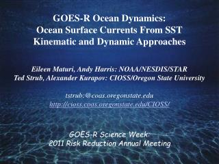 GOES-R Ocean Dynamics:  Ocean Surface Currents From SST Kinematic and Dynamic Approaches