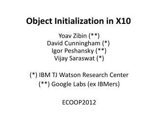 Object Initialization in X10