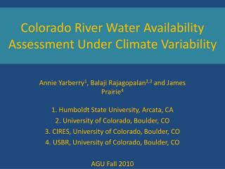 Colorado River Water Availability Assessment Under Climate Variability
