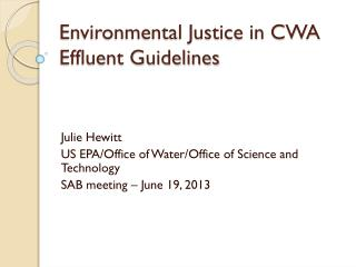 Environmental Justice in CWA Effluent Guidelines