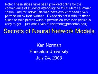 Secrets of Neural Network Models