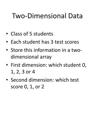 Two-Dimensional Data
