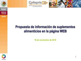 Propuesta de información de suplementos alimenticios en la página WEB