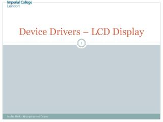 Device Drivers – LCD Display
