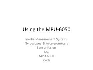 Using the MPU-6050