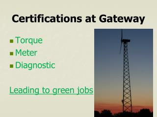 Certifications at Gateway
