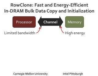 RowClone: Fast and Energy-Efficient  In-DRAM Bulk Data Copy and Initialization