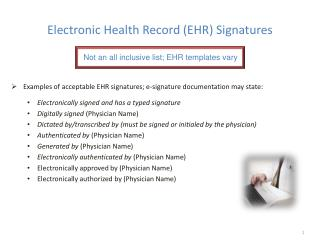 Electronic Health Record (EHR) Signatures