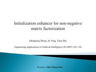 Initialization enhancer for non-negative matrix factorization