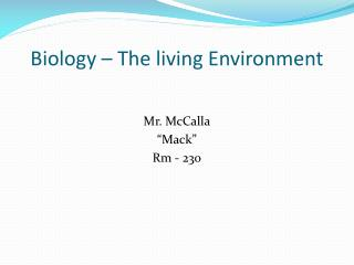 Biology – The living Environment