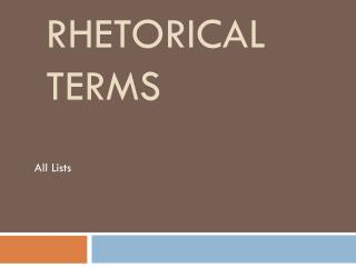Rhetorical Terms
