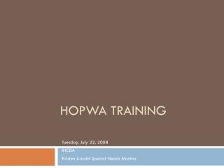 HOPWA Update for 2008